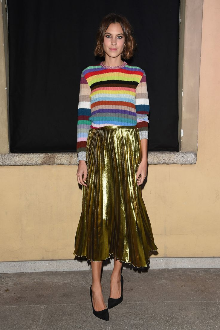 Alexa Cheung. Multi-coloured striped sweater, gold lame pleated skirt. ❤