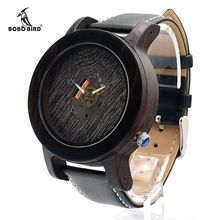 BOBO BIRD K08 Men Wooden Watches Fashion Silver Needle with Leather Band Casual Erkek Ebony Clock in Gift Box(China (Mainland))