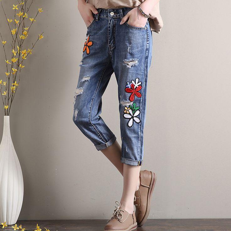 レディースファッション通販春夏物 刺繍デニムパンツ九分丈