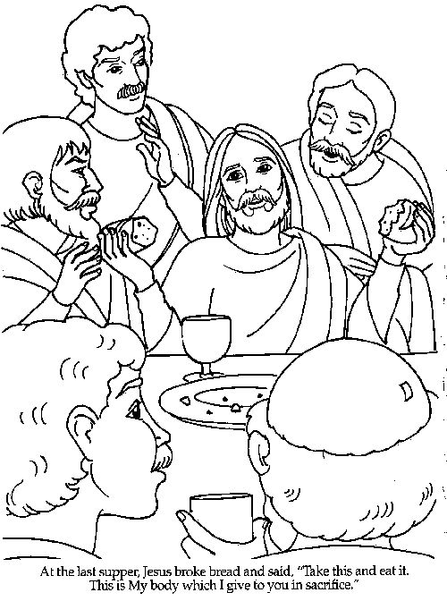The Last Supper Bible Coloring Pages