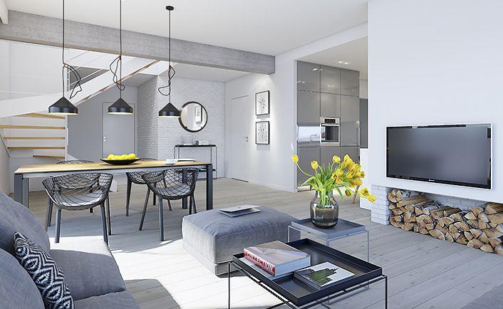 Dostępny 3 - wizualizacja 6 - nowoczesny projekt małego domu z podwójnym garażem