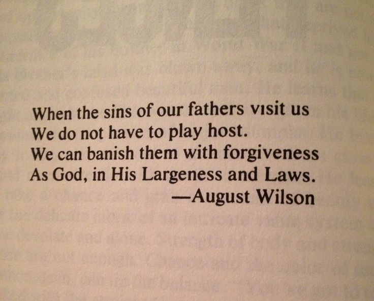 The opening quote of August Wilson's Fences.