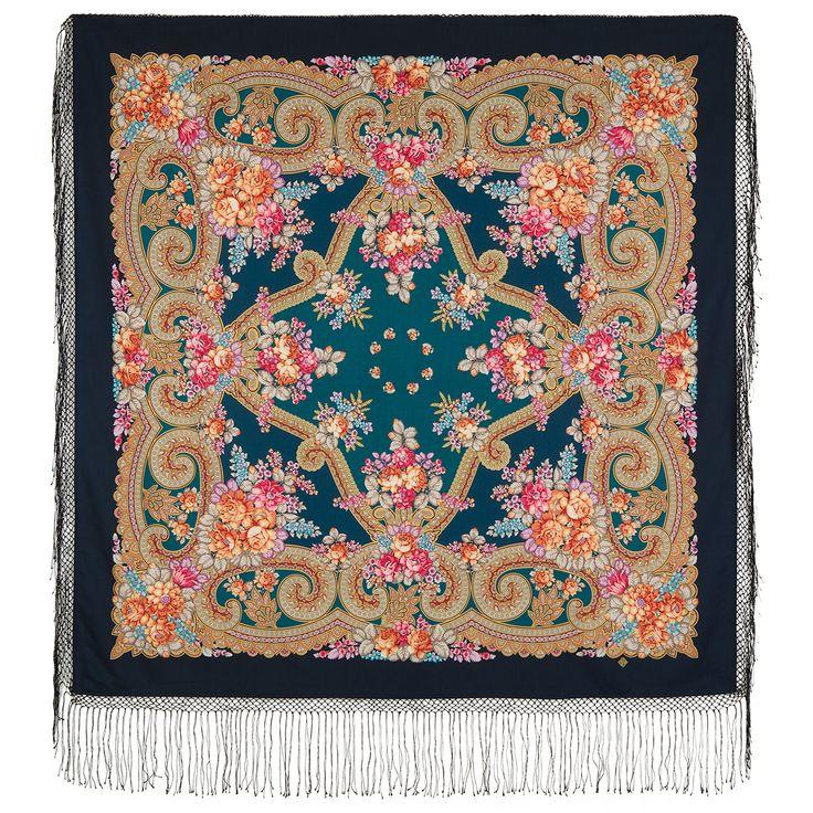 #Russian #shawl Labzinsky 1722-12. #Traditional Russian #wool #shawl, Pavlovo Posad shawl. Free Shipping. Best price guarantee.