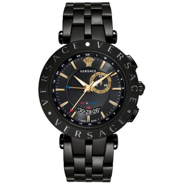 Versace  Men's V-Race Gmt Black Watch (635 KWD) ❤ liked on Polyvore featuring men's fashion, men's jewelry, men's watches, white, versace mens watches, mens dual time zone watches, mens blue dial watches, mens watches jewelry and mens white watches