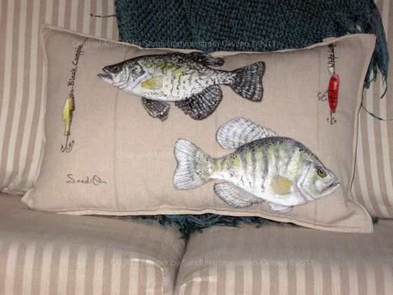 FISH PILLOWS White Black Crappie Decorative Sham Rustic Cabin Decor