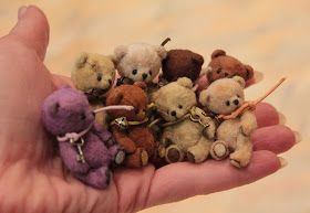 Mini teddy bear and pattern...(a palmful of warm fuzzies and happiness!!!)....
