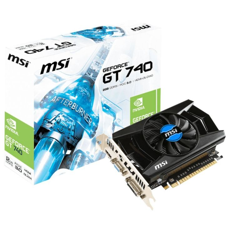 MSI nVidia GeForce GT740: PCI-Express x16 3.0, GDDR5 2GB, 128-Bit, GPU:1006MHz / Mem:5000MHz, DVI x1, HDMI x1, 1x VGA, DirectX 12, OpenGL 4.4Dual Slot ATX, MSI Afterburner, Military Class Components, 3DVision Support : Graphics Card - Graphics Cards - Video Card - Video Cards