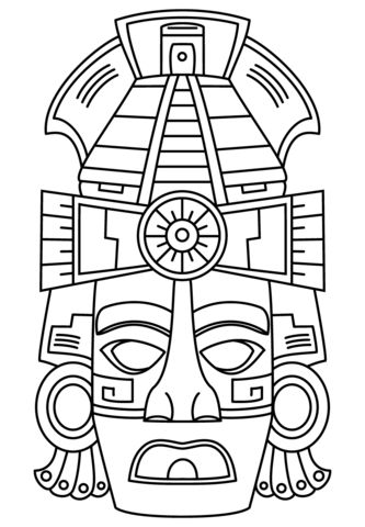 Mayan Face Mask coloring page from Mayan art category. Select from 24104 printable crafts of cartoons, nature, animals, Bible and many more.