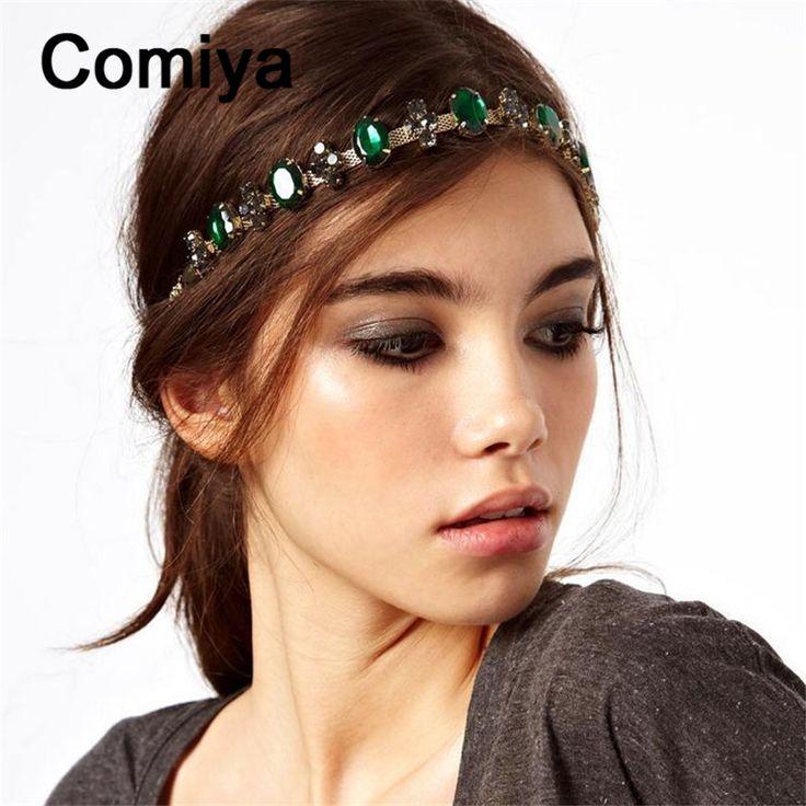 Comiya Thời Trang thương hiệu wedding tóc phụ kiện headbands Màu Xanh Lá Cây khảm pha lê ấn độ phong cách đồ trang sức vương miện noiva headband coroa