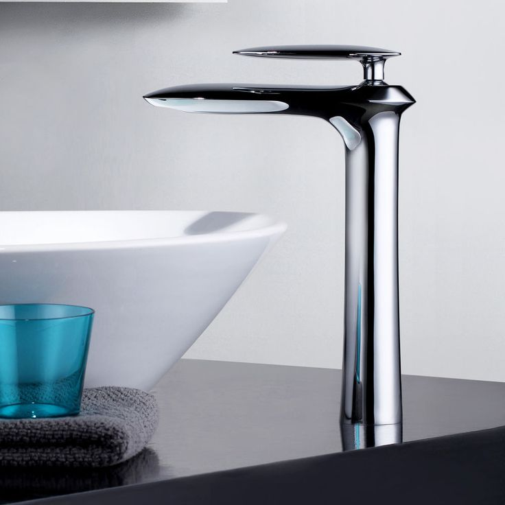 Chrome 1 Hole Tall Basin Tap For Countertop Bathroom Mixer Filler Waterfall Taps