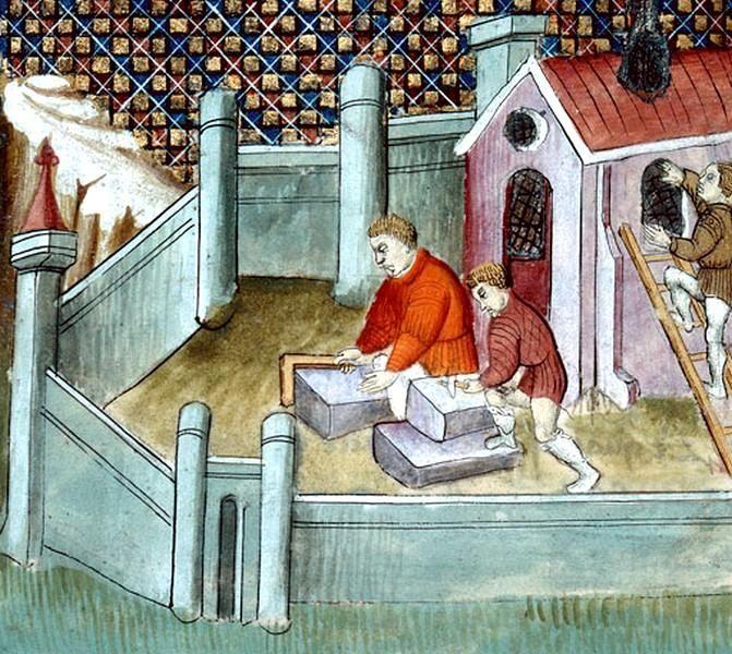 Construction de l'abbaye de Saint-Denis Enluminure médiévale
