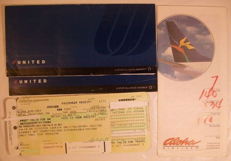 Lot United Airlines Aloha Ticket Folder Passenger Ticket Baggage Check Receipts