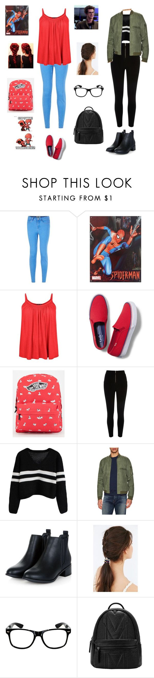 """""""Spiderman aka Peter Parker"""" by tina-a-unicorn ❤ liked on Polyvore featuring New Look, Keds, Vans, River Island, Tavik Swimwear and Urban Outfitters"""
