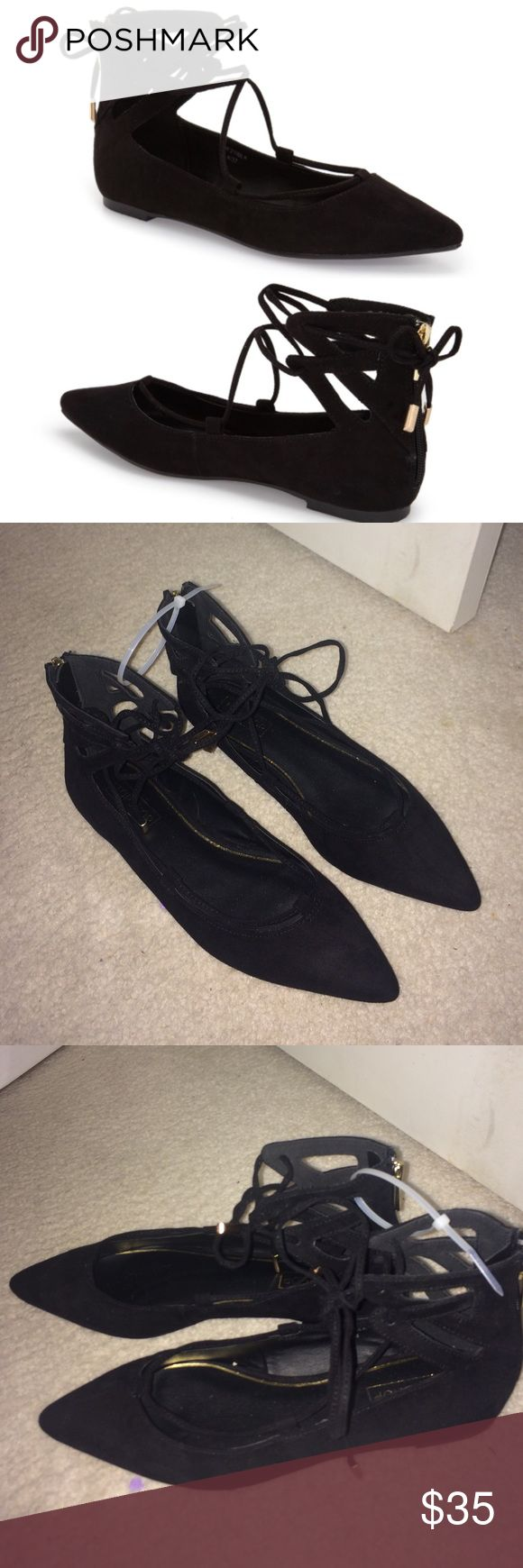 """NEW Topshop Lace Up black suede ballet Flats 7.5 NEW Black suede topshop Lace-Up Pointy Toe Flat (Women). Super cute gold hardware with zip up back detailing. Never worn. Size U.K. 6 which is a US 7.5. Metal-tipped ghillie laces crisscross the open top of a pointy-toe flat styled with geometric cutouts at the ankle. 4 3/4"""" back height. Back zip closure; adjustable laces. Trendy and great for everyday.  Textile upper/synthetic lining/rubber sole. Topshop Shoes Flats & Loafers"""