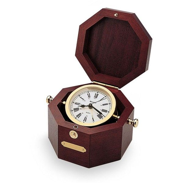 Bulova Quartermaster Maritime Wood Clock ($120) ❤ liked on Polyvore featuring home, home decor, clocks, red, engraved plates, wood plates, polish wooden plates, red clock and maritime clock