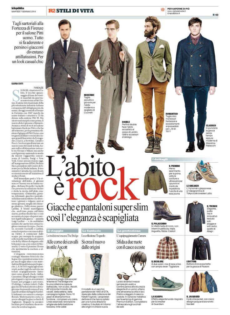 L'abito è rock #giacche e #pantaloni super slim per un'eleganza scapigliata con la collezione #LBM1911 di #Lubiam Luigi Bianchi Mantova su #laRepubblica del 07.01.2014