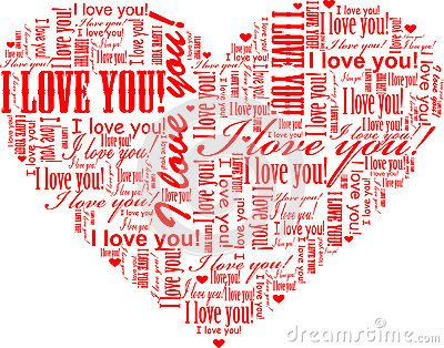 Heart shape word cloud illustrated with red text graphics I love you.