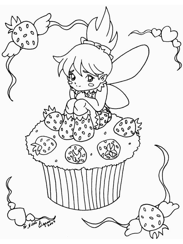 cupcake-aardbeien-fee kleurplaat