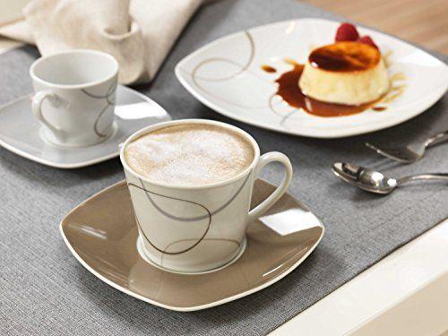 Kombiservice Alina Marron 60 Teile Geschirrset Kaffeeservice und Tafelservice Porzellan für 12 Personen und mysolitaire Teelichthalter