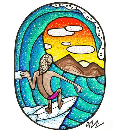 We love this awesome print by artist Aaron Godina. A great piece to get printed onto canvas to add a pop of colour and some surf vibes to your home.