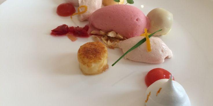 Bloedsinaasappel, mascarpone, specerijen en crème brûlée, Mathijs Jacobs, restaurant De Beejekurf, Venray.