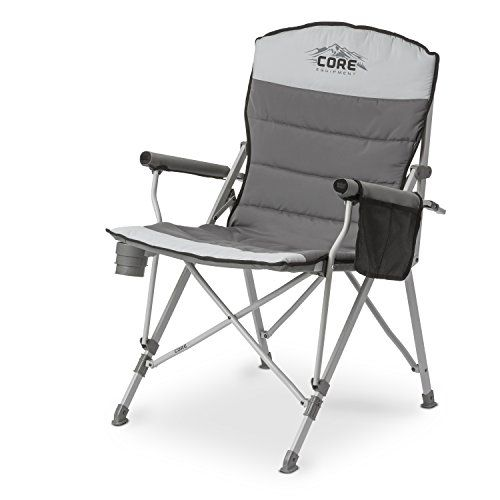 CORE Padded Hard Arm Chair with Carry Bag Outdoor Store [gallery]  Loosen up with the CORE Padded Hard Arm Chair. This cozy chair includes a sturdy steel frame with a 300lb weight capacity, and plush quilted seat made out of 600D brushed polyester. Padded hard arms provide extra fortify and comfort. The collapsible cup holder and built-in gear pocket keep the whole thing organized and close by. Easiest for camping, sporting events and…