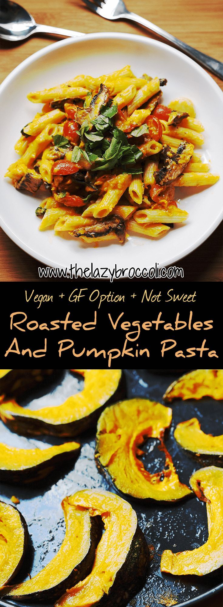 This #vegan #glutenfree #roasted #vegetables and #pumpkin #pasta is savory with just a hint of sweetness - the #garlic and #tomatoes definitely help to cut the sweetness of the pumpkin. It's sooo good, you have to try this!