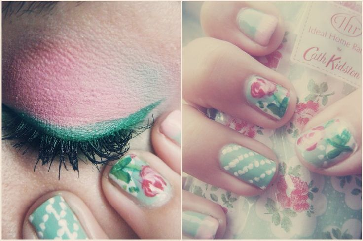 makeup nails pink green flower pattern pale