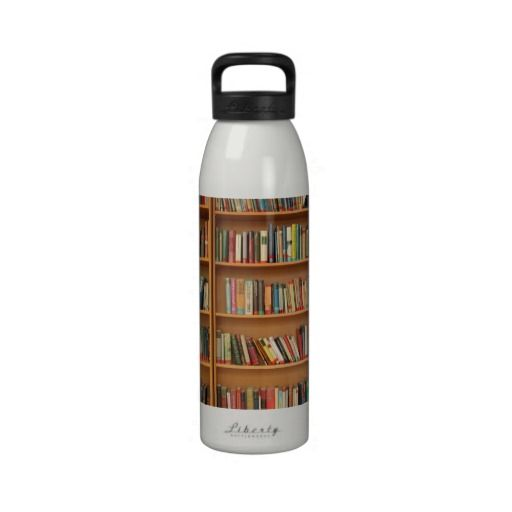 Bookshelf background reusable water bottles