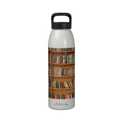 Bookshelf background reusable water bottles