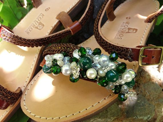Greek leather sandals Decorated sandals Summer by Byhandtoheart
