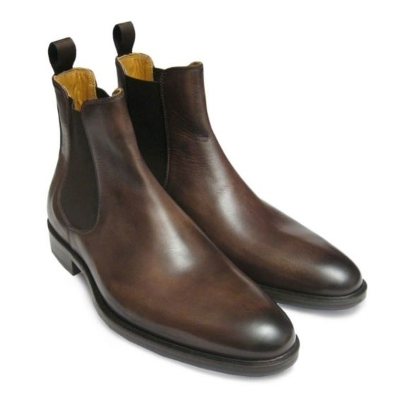 Handmade Men Brown Leather Chelsea Boots, Men Ankle Boots, Men Chelsea Boot - Dress/Formal