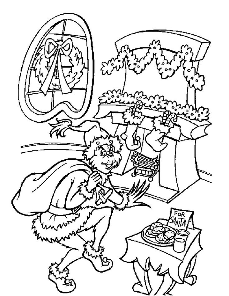 The Grinch is Santa Claus coloring page | Holiday | Pinterest