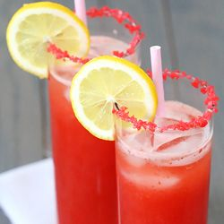 """Sparkling Strawberry Lemonade ~ plus some extra fun """"sparks"""" rimming the glasses! #foodgawker"""