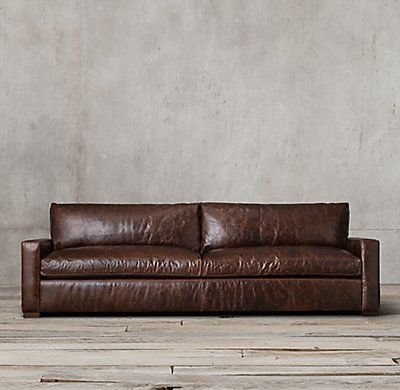 RH's Maxwell Leather Sofa:Maxwell's streamlined design features a low back and wide, squared-off seat and back cushions.