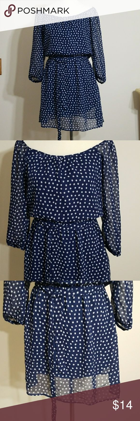 """Speechless Polka Dot Mini Dress Speechless Polka Dots Mini Dress with elastic waist and sleeve size Small. Inspired by the 80s.  In very good pre-owned condition, no flaws noticed. 100%polyester  Mashine wash cold  Measurement  Armpit to the armpit:17"""" Waist:12"""" across  un-streched  Sleeve inseam:13"""" Length:35"""" Speechless Dresses Mini"""