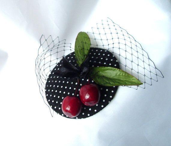 Fascinator Fruity Fresh Cherry Burlesque Pin Up hat polka dots Cherry Headdress