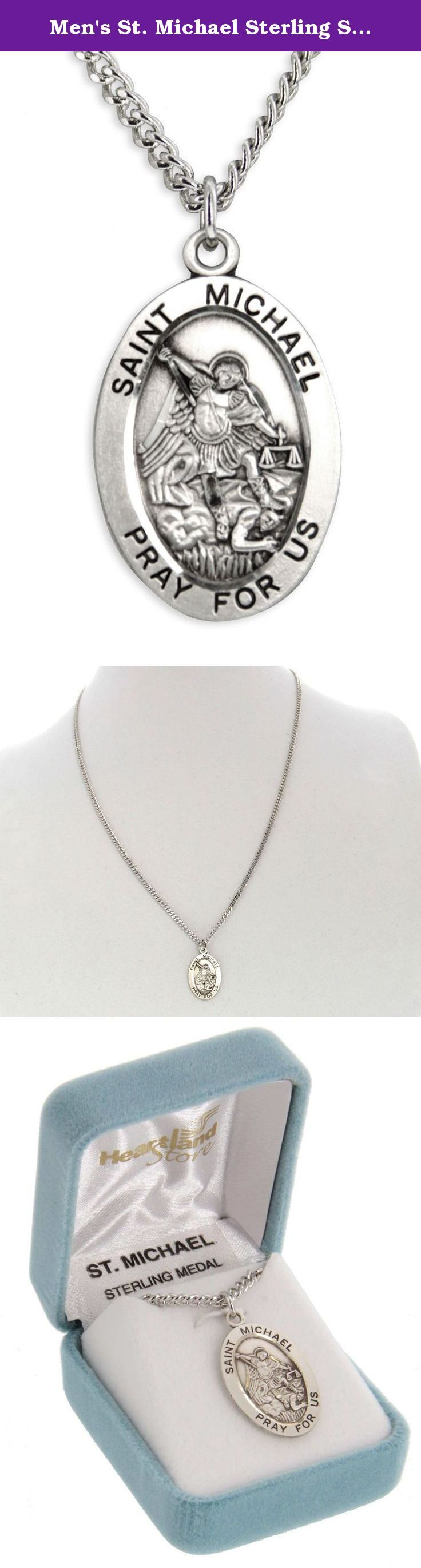 Men's St. Michael Sterling Silver Oval Pendant + 24 Inch Rhodium Plate Chain with Clasp. St. Michael is heaven's protector and yours too. This is the perfect pendant for anyone who wants his protection and help. Great gift idea for anyone in the police service or as a confirmation gift. The oval pendant is made of genuine .925 sterling silver and proudly made in the USA. The text around the oval outside border reads Saint Michael Pray For Us and the back is plain. You can choose from the...