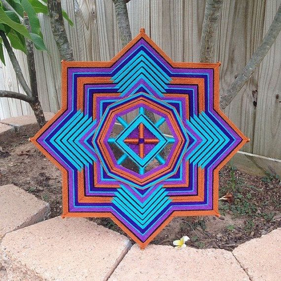 "yarn mandala, 'Square Wheel', 18"" diameter, 8-sided, home decor, wall hanging"