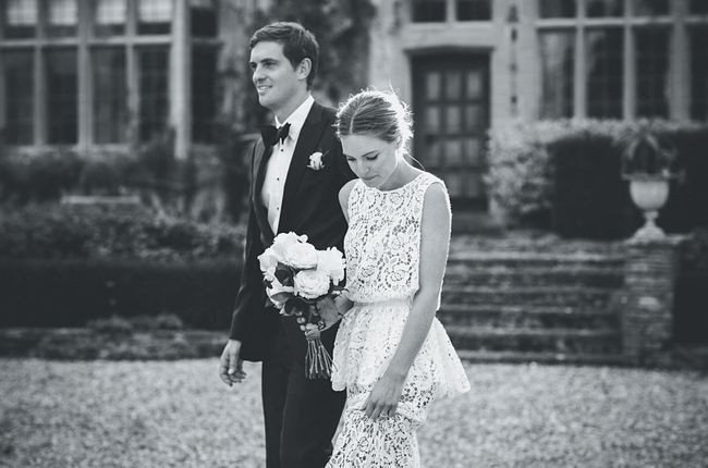 Inside fashion buyer Chloe Sippe's classic English wedding: The newlyweds arriving at the reception venue.