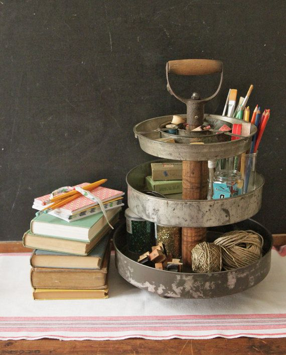 3 Tier Industrial Desk Supply Organizer from Repurposed Vintage Materials
