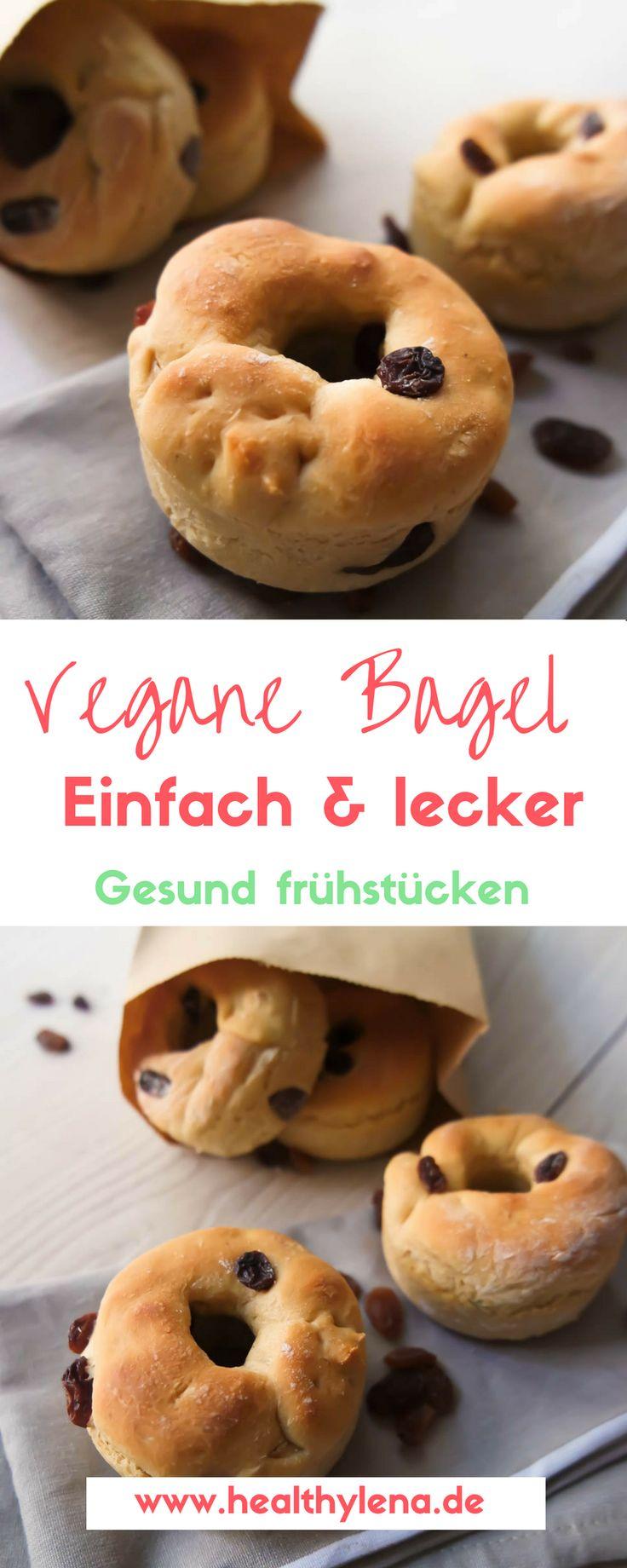 Vegane Bagel mit oder ohne Rosinen - gesund und lecker frühstücken leicht gemacht. Hier geht's zum Rezept für das vegane Frühstück oder den Snack zwischendurch. #backen #lecker #leicht #fettarm #gesund #healthylena #lowfat #sonntag #vegan #ohnesoja #rezepte #brötchen