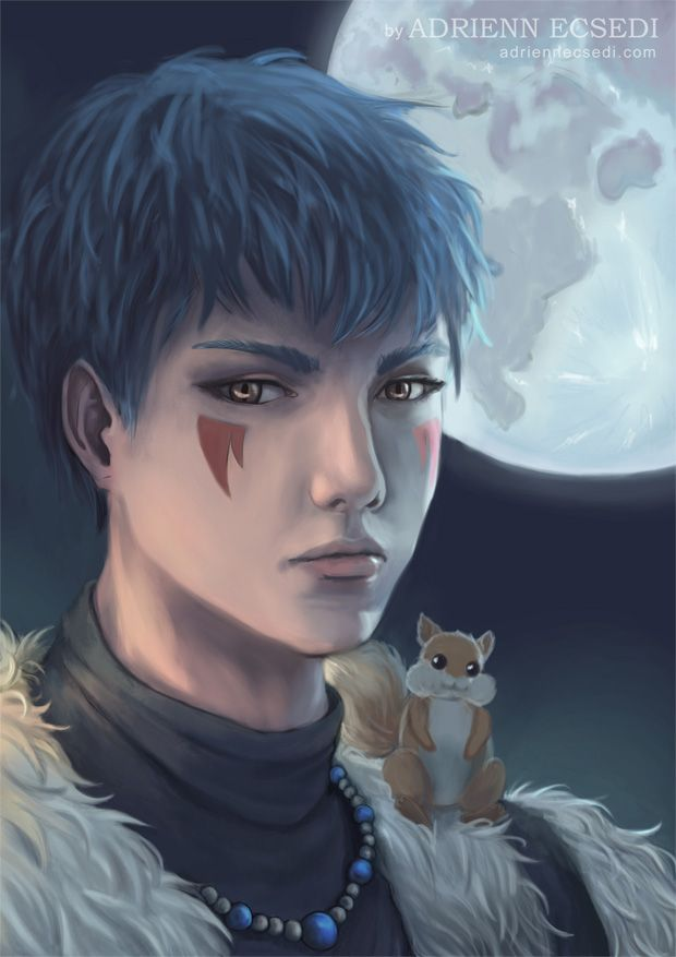 This is a semi-realistic portrait of Shin-Ah from the anime and manga serie Akatsuki no Yona with his cute little friend, Ao. Behind them is the Moon. Artwork is made by Adrienn Ecsedi.