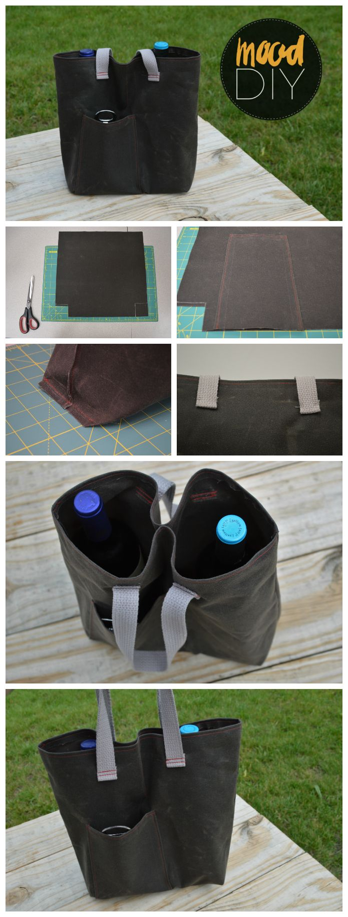 Mood DIY: Waxed Canvas Wine Tote Tutorial | Whether you're going to a holiday cookout or a rustic bridal shower this summer, wine is always a wonderful host/hostess gift.