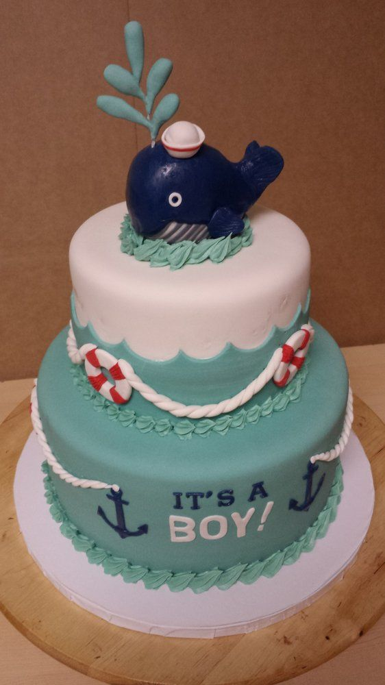 Whale/Nautical theme cake for a Baby Shower. Description from yelp.com. I searched for this on bing.com/images