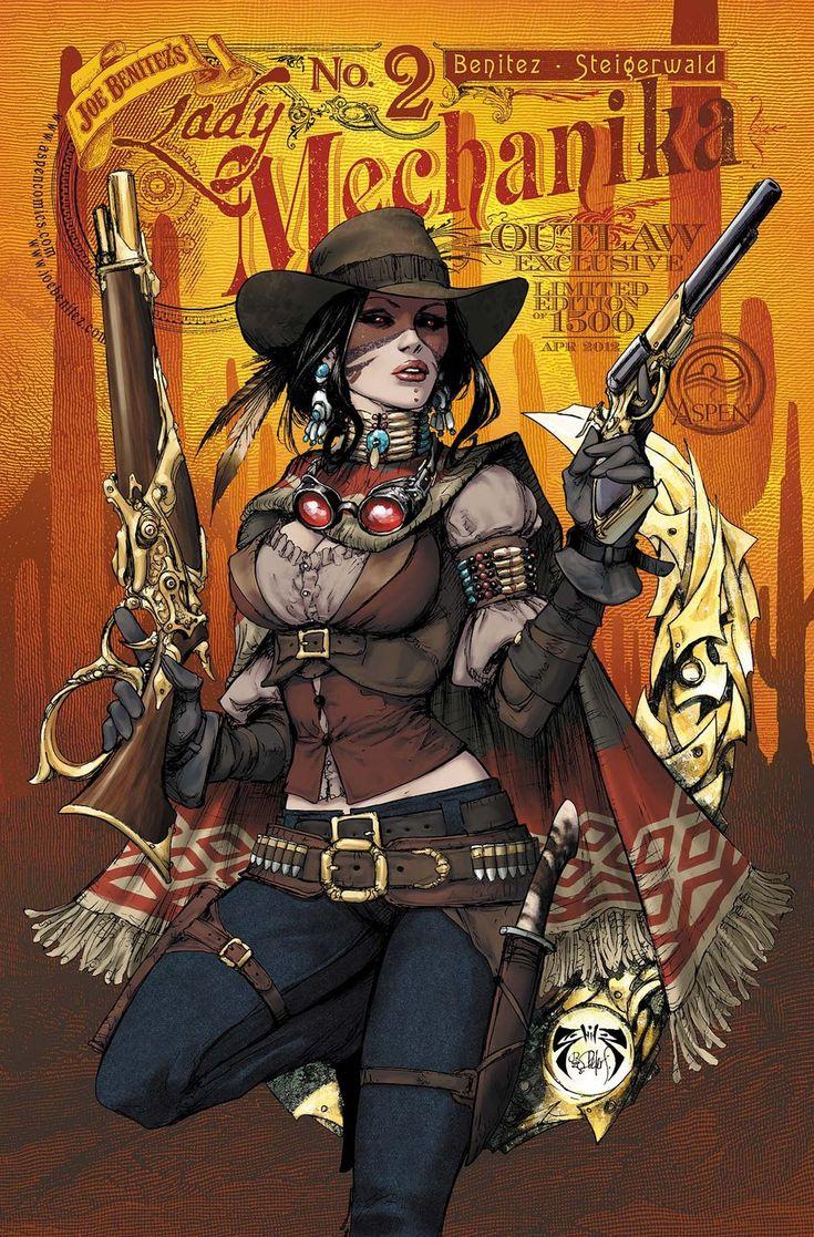 The Outlaw by Joe Benitez. Love the mix of native gear and wild west flare. Plus Lady Mechanika just rocks. Also, gunbelts. Mmm gunbelts.