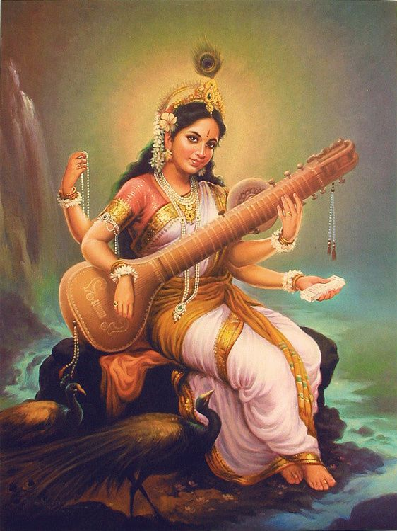Saraswati, consort of Brahma, is the goddess of knowledge, music, arts and science.