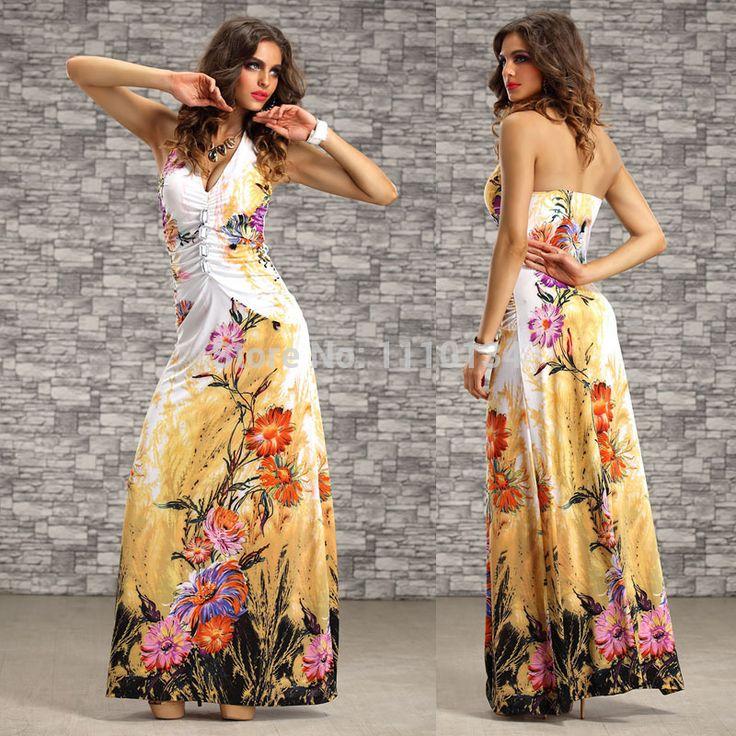 plus size m xxl vrouwen zomerjurk 2014 halternek bloemenprint jurk vloer lengte strand toevallige maxi bohemien lange jurk s1044 $16,61 (free shipping)