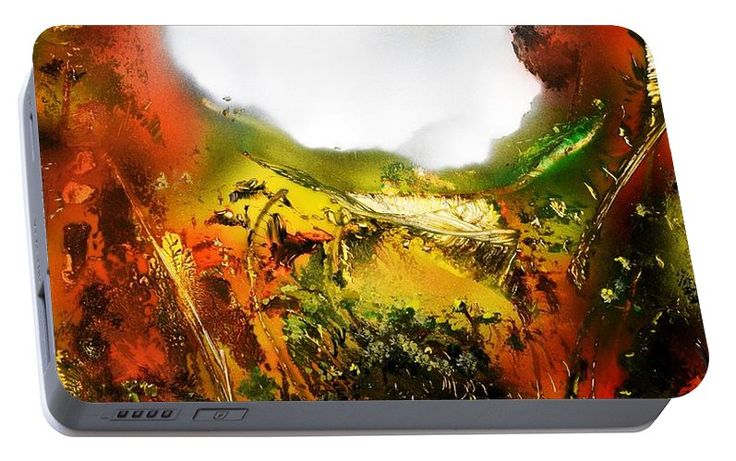 Golden Valley Portable Battery Charger Printed with Fine Art spray painting image Golden Valley by Nandor Molnar (When you visit the Shop, change the orientation, background color and image size as you wish)