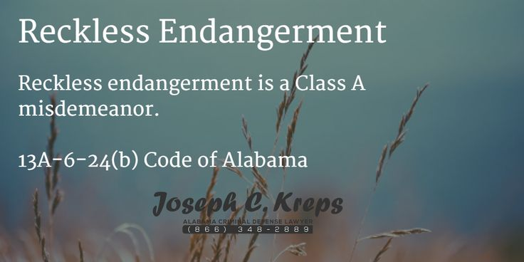 13A-6-24(b) - #Reckless Endangerment Reckless endangerment is a Class A misdemeanor. Dee needs to be more careful!